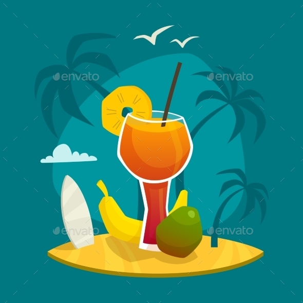 Tropical Juice Concept - Food Objects