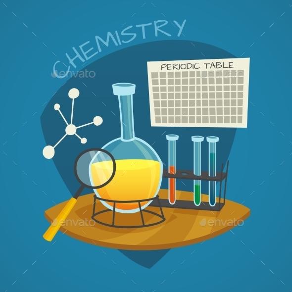 Chemical Laboratory Cartoon Icons Set  - Decorative Symbols Decorative
