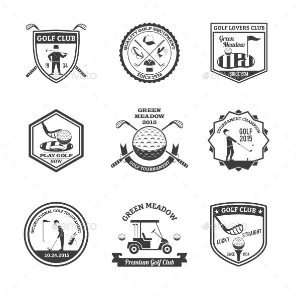 Golf Black White Emblems Set  - Sports/Activity Conceptual
