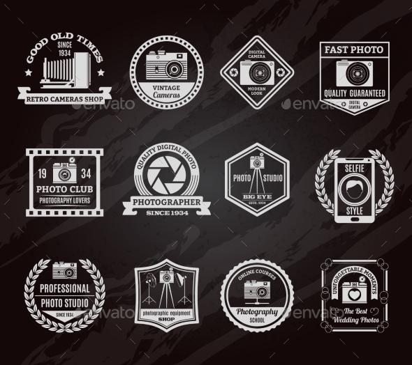 Photo Industry Chalkboard Emblems Set - Media Technology