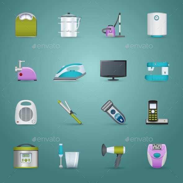 Home Appliances Icons Set  - Man-made objects Objects