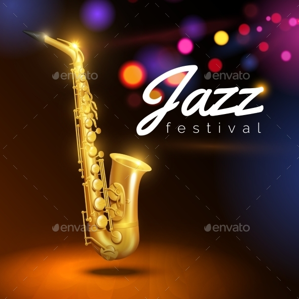 Saxophone on Black Background - Backgrounds Decorative