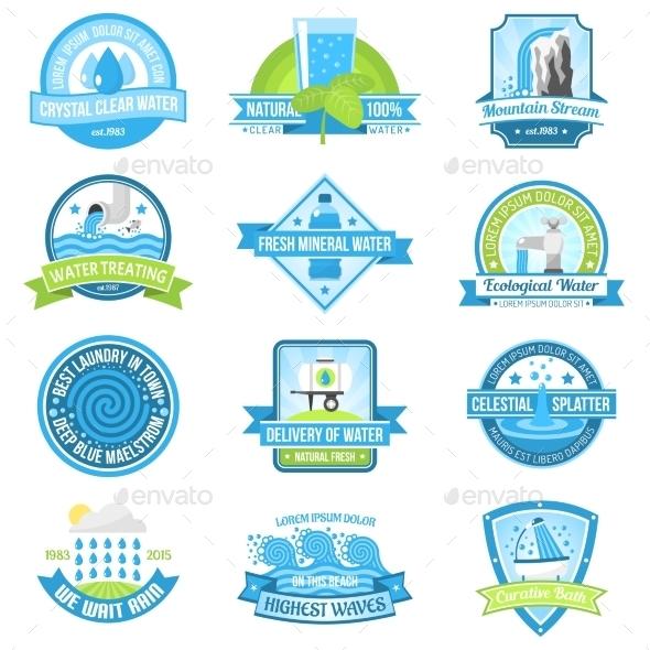 Water Emblem Set - Decorative Symbols Decorative