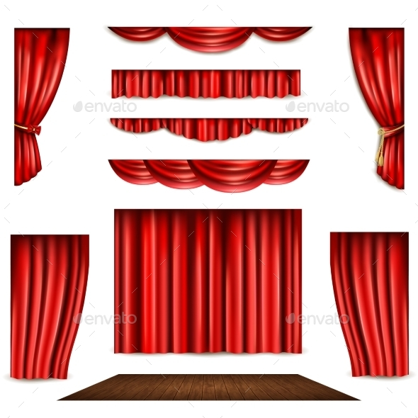 Red Curtain and Stage Icons Set - Man-made Objects Objects