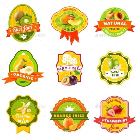 Fuits Emblem Labels Set Color - Food Objects