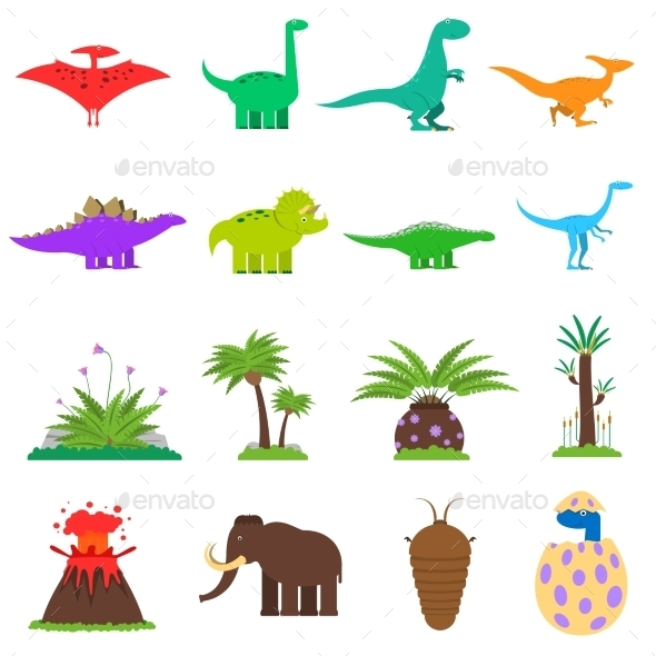 Dinosaurs Flat Set - Animals Characters