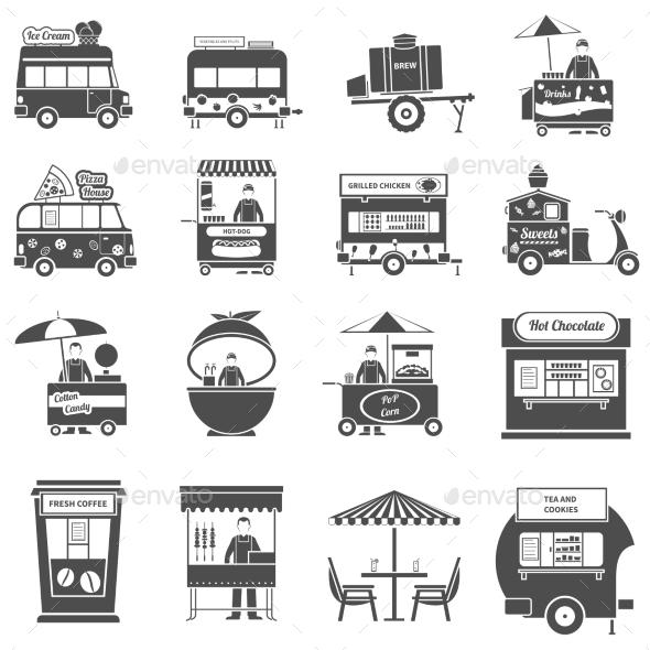 Street Food Black White Icons Set  - Business Icons