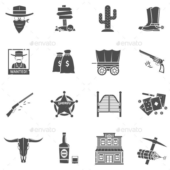 Cowboy Icons Set - Decorative Symbols Decorative
