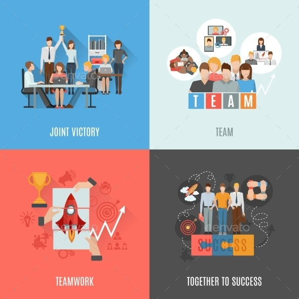 Teamwork 4 Flat Icons Square Composition - Concepts Business