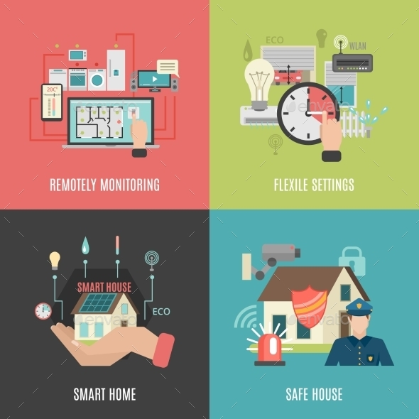 Smart Home 4 Flat Icons Square  - Communications Technology