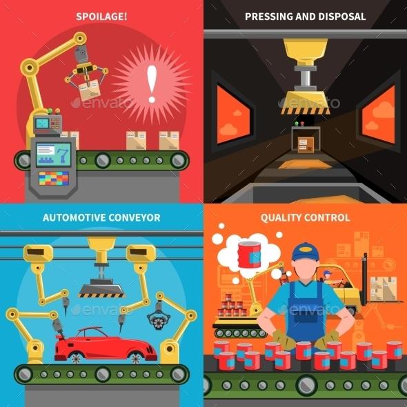 Conveyor Icons Set  - Industries Business