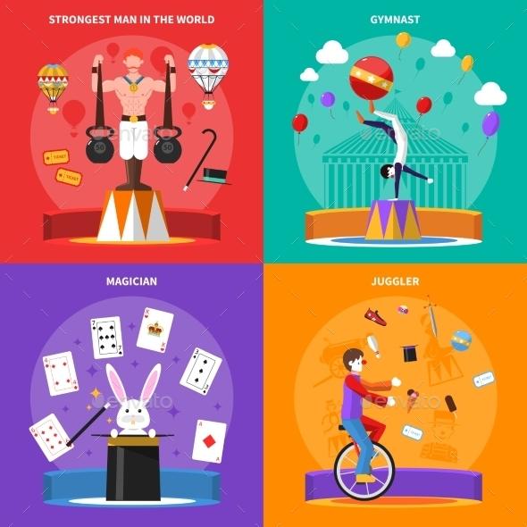 Circus Concept Icons Set  - Sports/Activity Conceptual