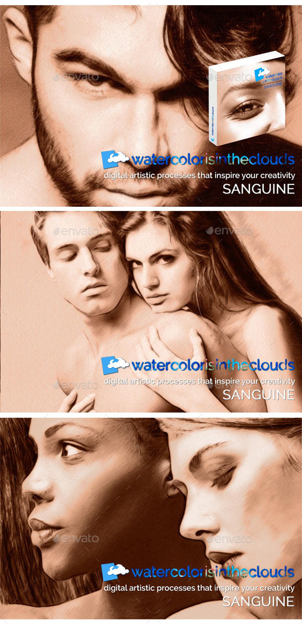 Watercolor is in the Clouds. Sanguine - Artistic Photo Templates
