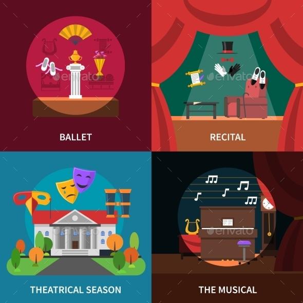 Theatre Concept Icons Set  - Miscellaneous Conceptual