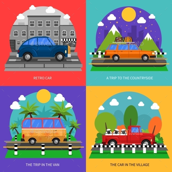 Cars Concept Icons Set  - Travel Conceptual