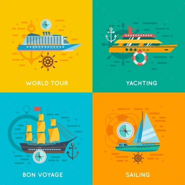 Nautical Concept 4 Flat Icons Square - Travel Conceptual