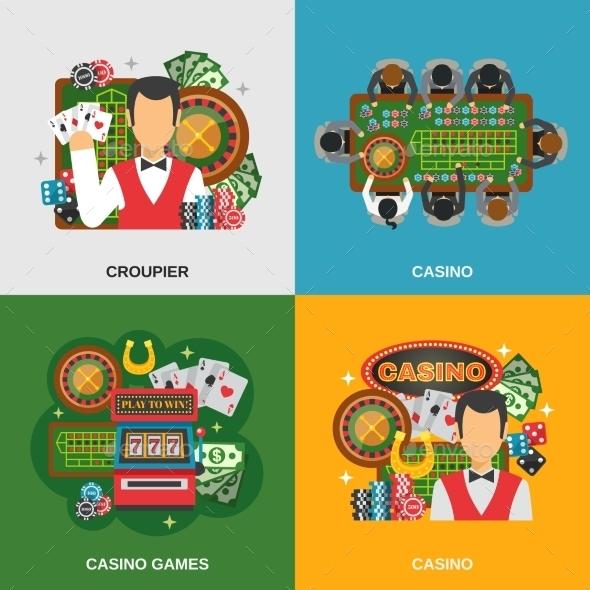 Casino Concept Icons Set  - Sports/Activity Conceptual