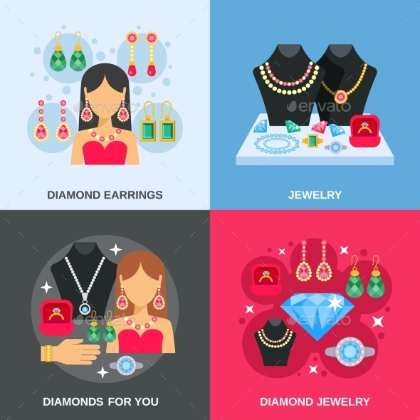 Jewelry Concept Icons Set  - Man-made Objects Objects