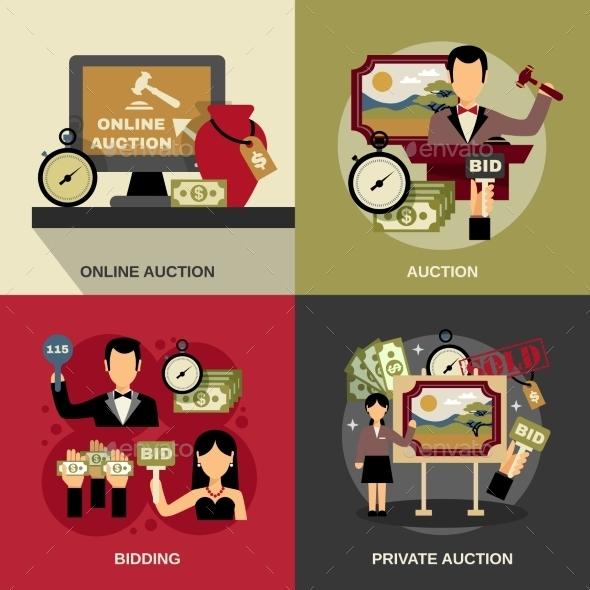 Auction Concept Icons Set  - Concepts Business