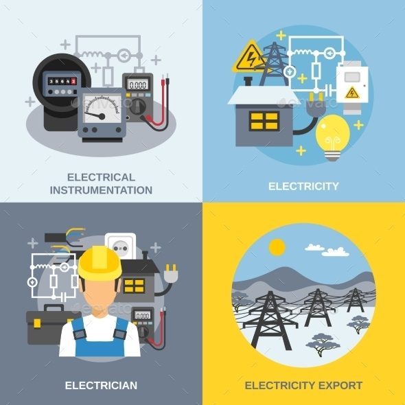 Electricity Concept Icons Set - Industries Business