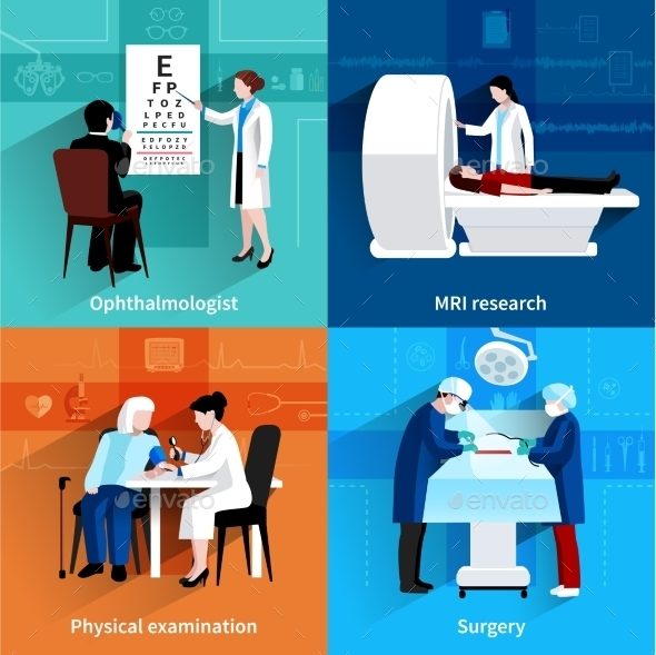 Medical Specialists 4 Flat Icons Square  - Health/Medicine Conceptual