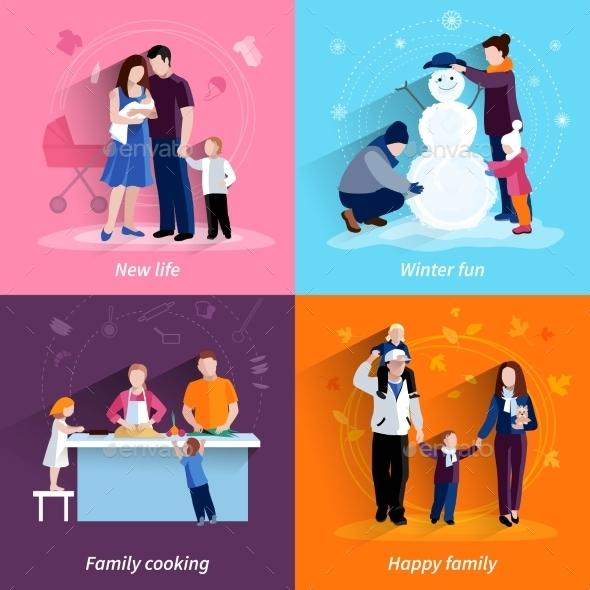 Parenthood 4 Flat Icons Square Set - Miscellaneous Conceptual