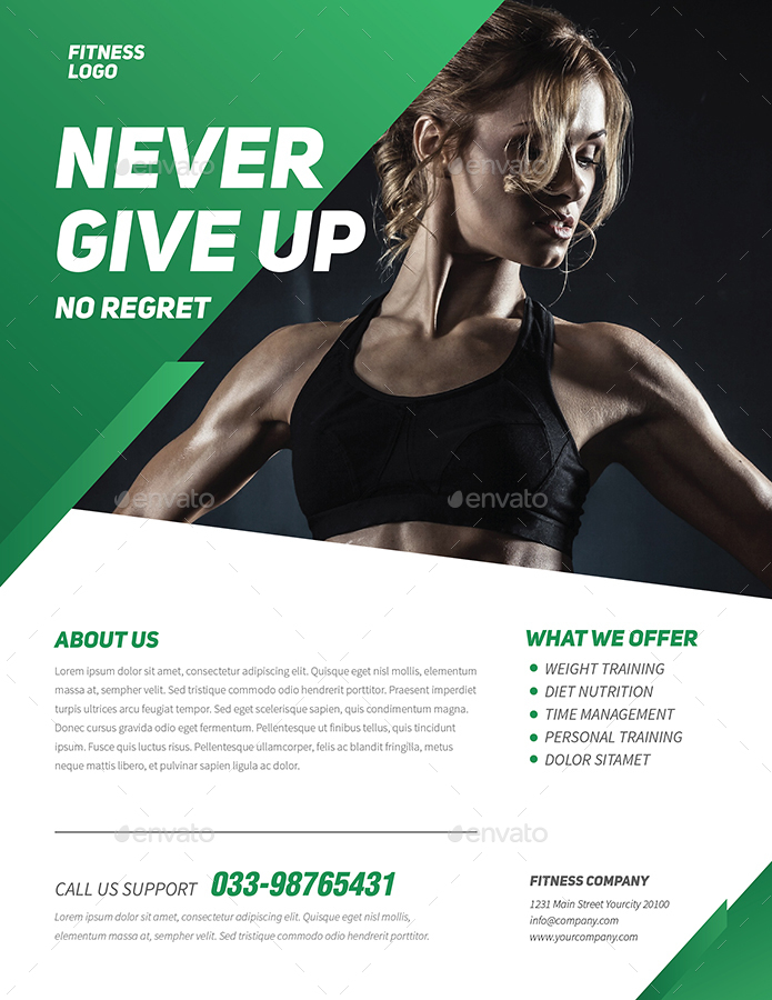 Charming Preview Image Set/Professional Fitness Flyer_green ...