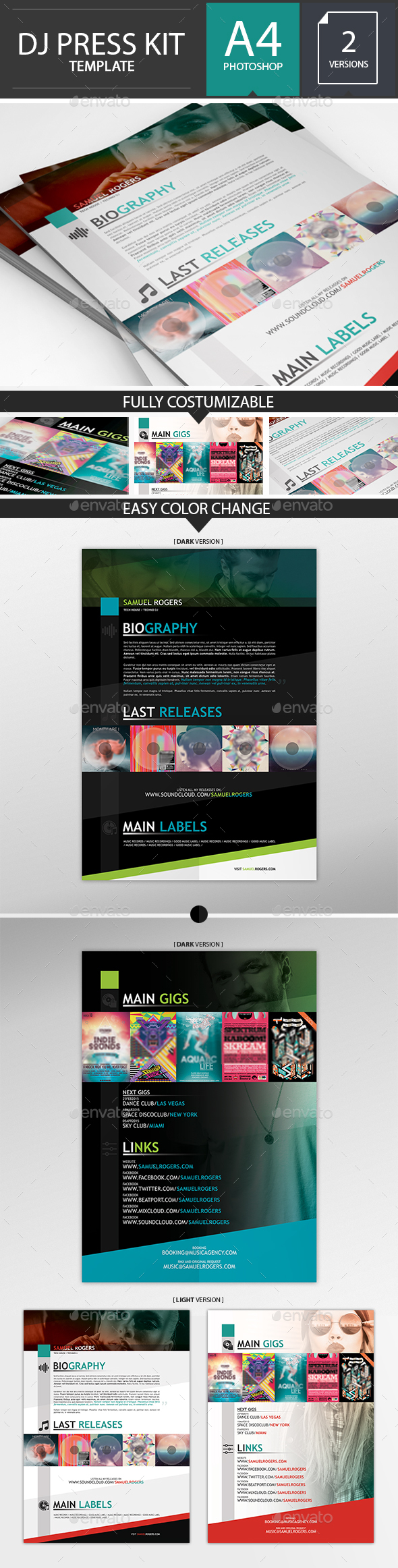 Dj / Musician Press Kit / Resume PSD Template  - Resumes Stationery