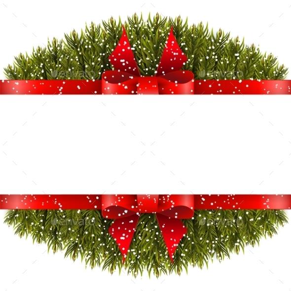 Christmas Border With Bow - Christmas Seasons/Holidays