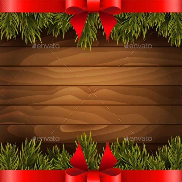 Christmas Tree With Red Bow On The Wood Background - Christmas Seasons/Holidays