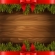 Christmas Tree With Red Bow On The Wood Background - GraphicRiver Item for Sale
