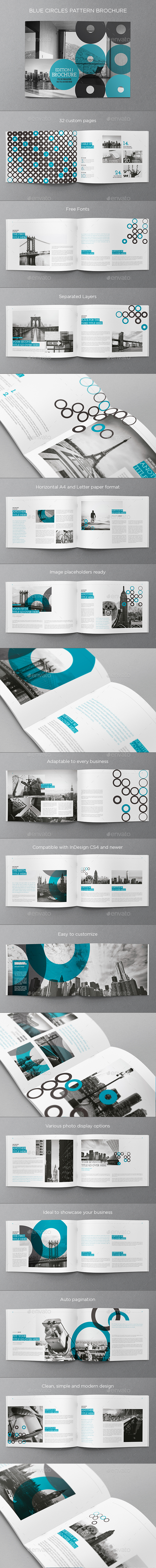 Blue Circles Pattern Brochure - Brochures Print Templates