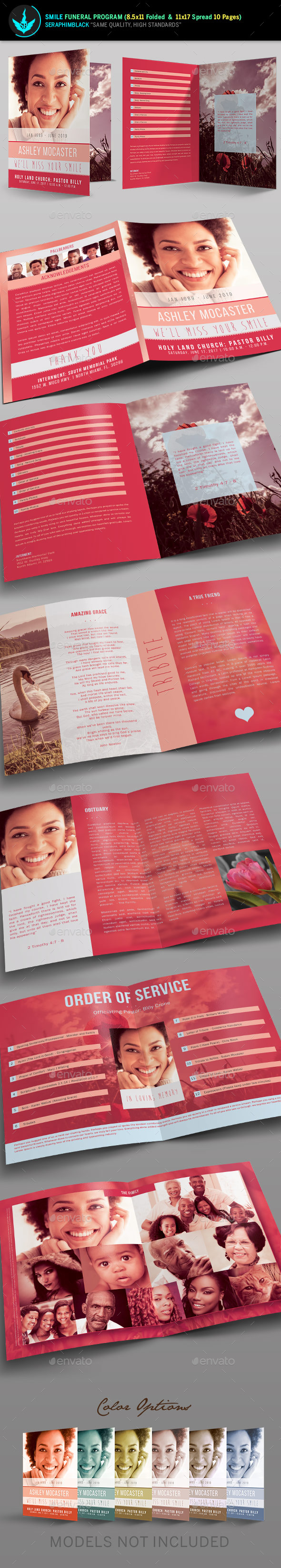 Smile Funeral Program Template - Informational Brochures