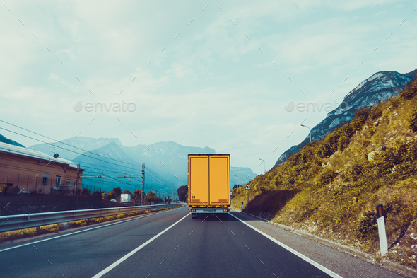 Cargo truck on the mountain. truck on road. Cargo transportation - Stock Photo - Images