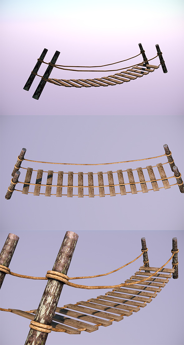 Low Poly Wooden Bridge - In-Game Objects - 3DOcean Item for Sale