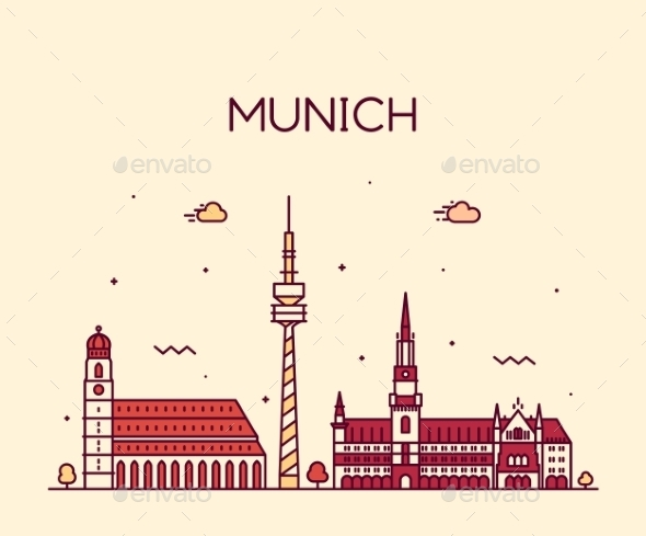 Munich Skyline Vector Illustration Linear Style - Buildings Objects