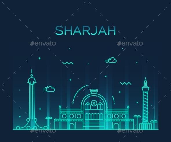 Sharjah Skyline Vector Illustration Linear Style - Buildings Objects