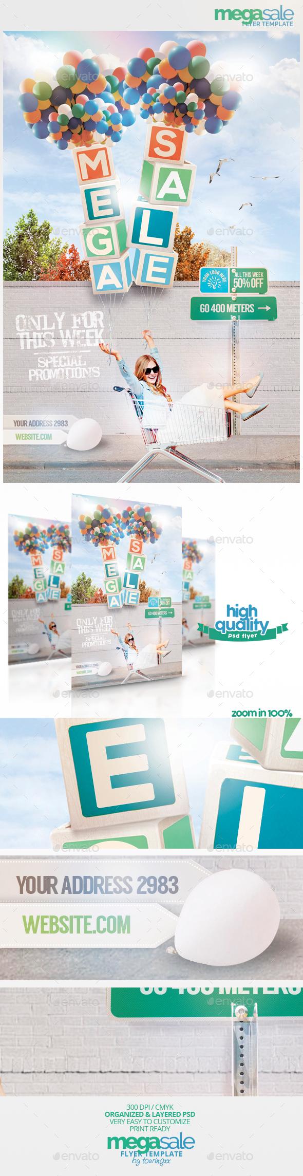 Mega Sale Flyer Template - Flyers Print Templates