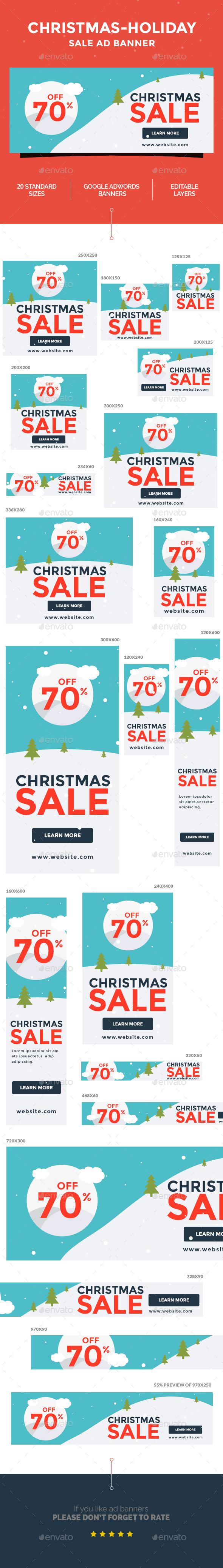Christmas - Holiday  Sale Ad Banner - Banners & Ads Web Elements