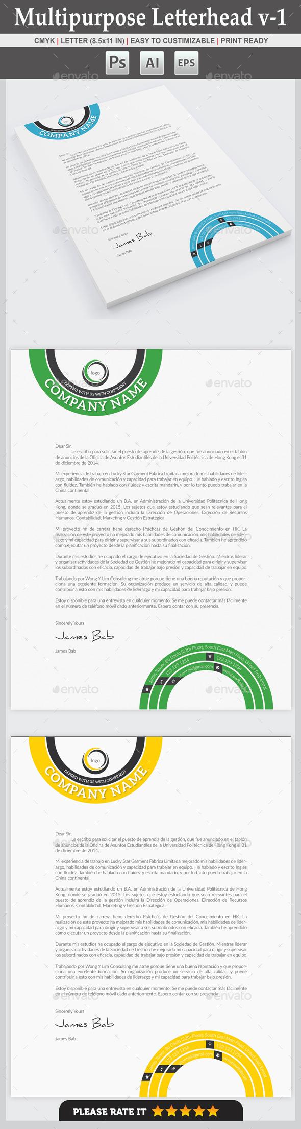 Multipurpose Letterhead v-1 - Stationery Print Templates