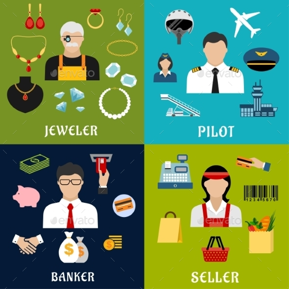 Seller, Banker, Pilot And Jeweler Professions - Industries Business