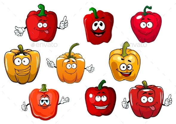 Orange And Red Bell Pepper Vegetables - Food Objects