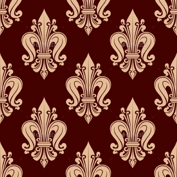 Beige French Lilies Pattern On Red Background - Backgrounds Decorative