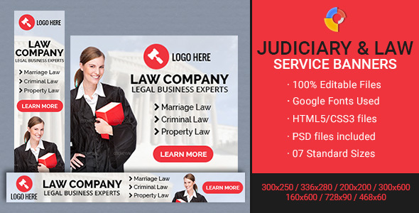 GWD | Judiciary & Law Company Banners - 7 Sizes - CodeCanyon Item for Sale