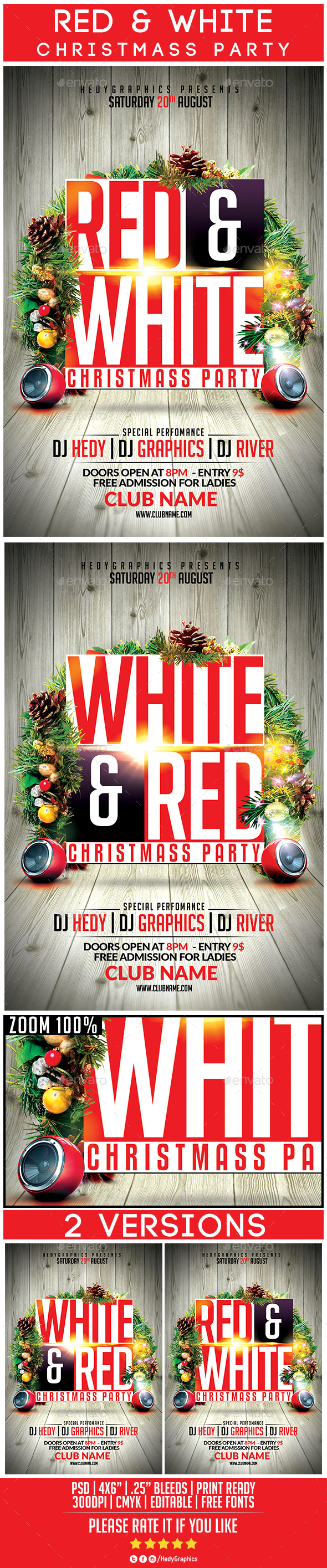 Red & White Christmass Party - Flyers Print Templates