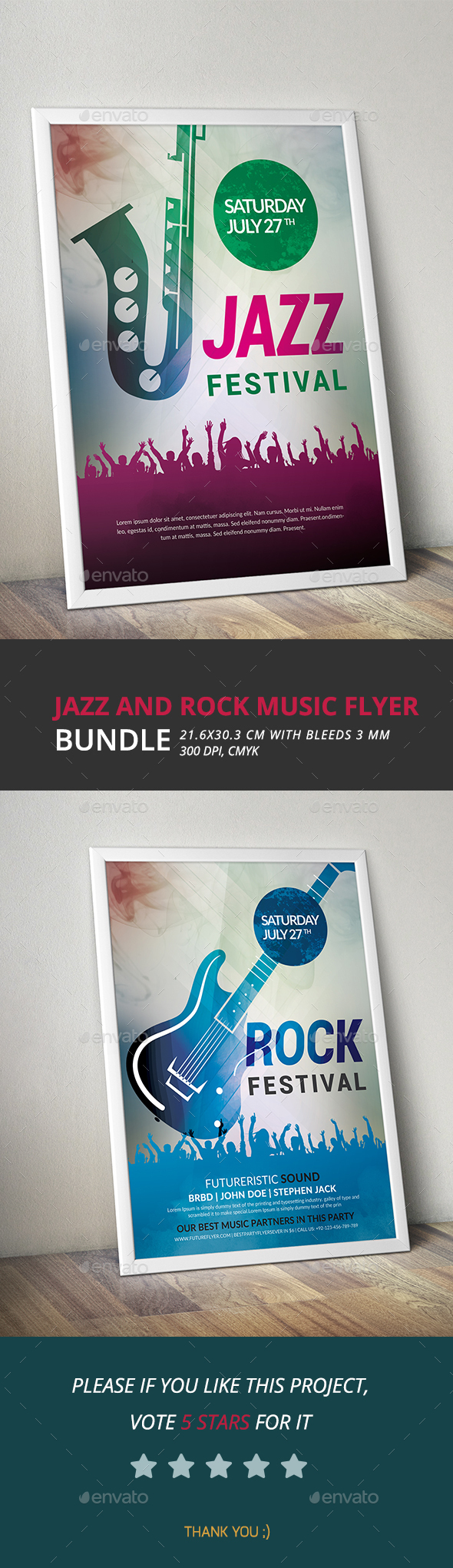Jazz and Rock Music Flyer Bundle - Clubs & Parties Events