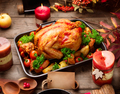 Thanksgiving dinner table served with turkey, decorated with bri - PhotoDune Item for Sale