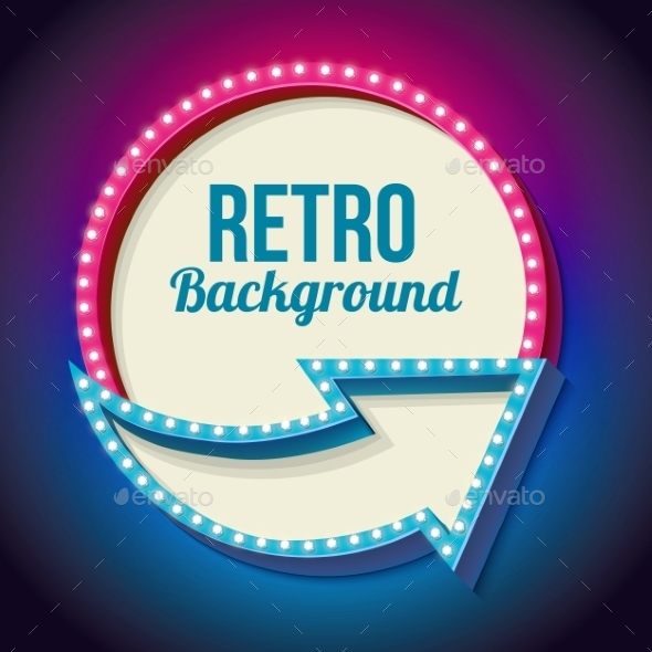 Colorful Retro Sign With Lights - Borders Decorative