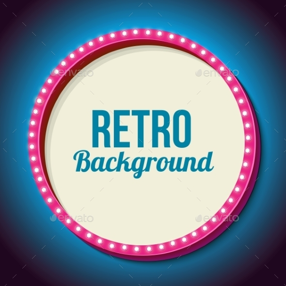 Retro Frame Circle With Neon Lights - Borders Decorative