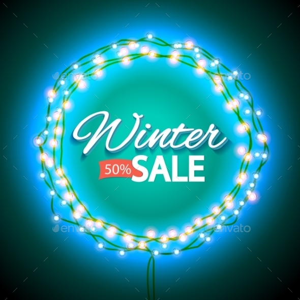 Winter Sale Lights Frame - Retail Commercial / Shopping